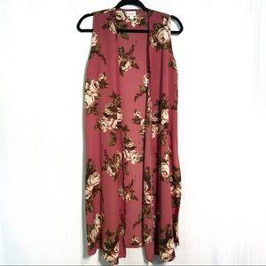 LuLaRoe Floral Long Joy Vest Size Small